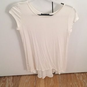 NWOT White top with shear material on the back